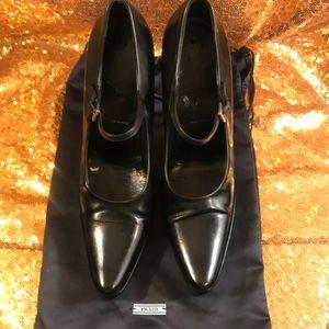 Prada Black Leather Mary Jane Heels